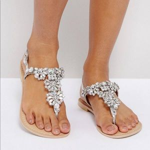 Women's silver leather embellished Sandels